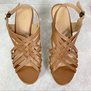 Franco Sarto Shoes - Franco Sarto Tammie Strappy Leather Wedge Sandals